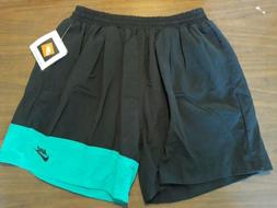 42/6 NEW Vintage NIKE Swim Trunks Board Shorts TEAL and  bla