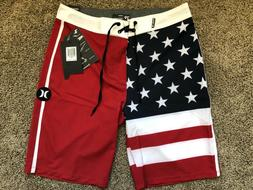 $55 BRAND NEW HURLEY PHANTOM MENS BOARD SHORTS FLAG USA 28 2