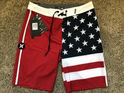 $55 BRAND NEW HURLEY PHANTOM MENS BOARD SHORTS FLAG USA 28 2