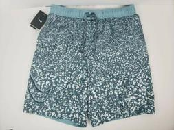 "Nike 9"" Volley Men's Swim Trunks Board Shorts White Grey S"
