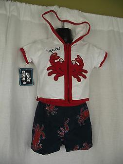 BNWT Boys Size 00 White/Red Short Sleeve Hoodie Top & Swim B