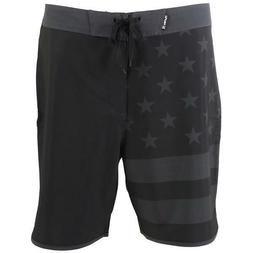 "Hurley Phantom Block Party USA Flag Board Shorts 18"" Black G"