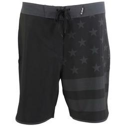 "Hurley Phantom Block Party USA Flag Board Shorts 18"" Black G"
