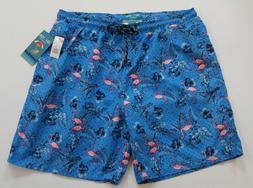 Mens Flamingo Drawstring Lined Swim Board Shorts Size Large