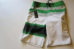 NWT O'Neill Boys 26 Surf Board Shorts Gray White Green Strip