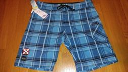 NWT Pipeline 4 Way Stretch Blue Plaid Board Shorts Men Size