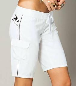 O'Neill Caspian Women's Long Solid Boardshorts - White - Siz