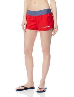 Speedo Women's Guard Boardshort with Stretch Waistband, Red,