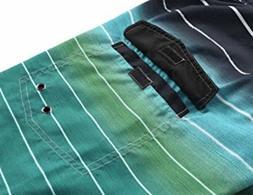 Unitop Men's Colortful Striped Swim Trunks Beach Board Short