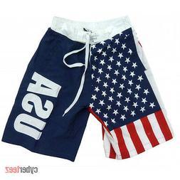 American Flag Board Shorts USA Mens Swim Trunks Patriotic St