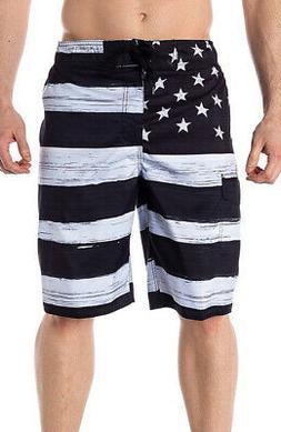 American Flag USA Board Shorts Old Glory BLACK Mens Swim Tru