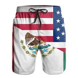 American Mexican Flag Mens Sports Quick Dry Swimming Shorts