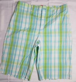 Ann Klein Sport Women 10 Stretch White Green Check Zip Up Fl