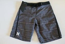 Hurley Big Boys 10/25 Black Gray Stripe Surf Board Shorts NW