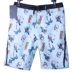 HURLEY Board Shorts Boys Size 18 / 29 Skulls Birds Sharks Bl