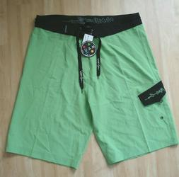 Maui and Sons board shorts men's size 34 unlined neon gree