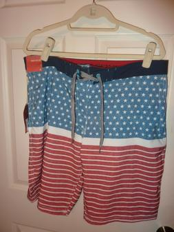 """Board Shorts Mossimo Supply 38 Surf Below Knee 22"""" Red Fourt"""