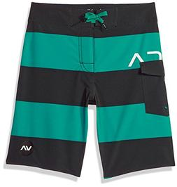 RVCA Boys' Big UNCIVIL Stripe Trunk, Light Teal, 26