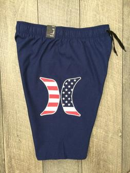 Hurley Boys Board Shorts Swim Trunks Youth Large Blue Stars