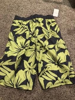 Old Navy Boys Gray Yellow Floral Swim Trunks Board Shorts Si