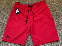 BRAND NEW HURLEY MENS BOARD SHORTS ONE AND & ONLY RED 31 32