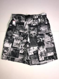 Flamingo Beach Photo Print Swim Trunks Board Shorts Black Wh