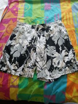 Nike Floral Black /White /Gray Swim~Board Shorts Mesh Lining
