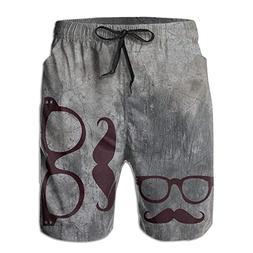 Fimaliy Glasses and Beard Pattern Summer Trunks Board Short