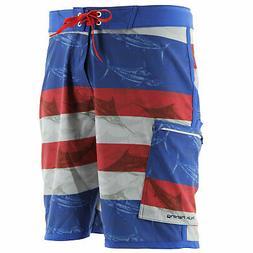 Huk KC Scott Blue Marlin USA Royal Board Short, Sizes: 28-42