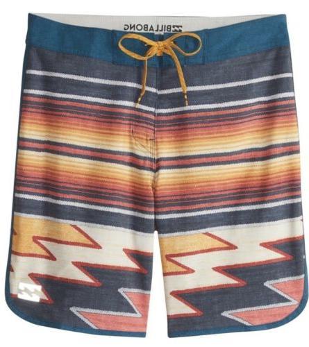 $55 Billabong Platinum 73 X Shorts Swim Blue Orange Size