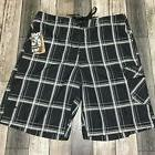 Hurley Boardshorts Men's Size 33  Plaid Black