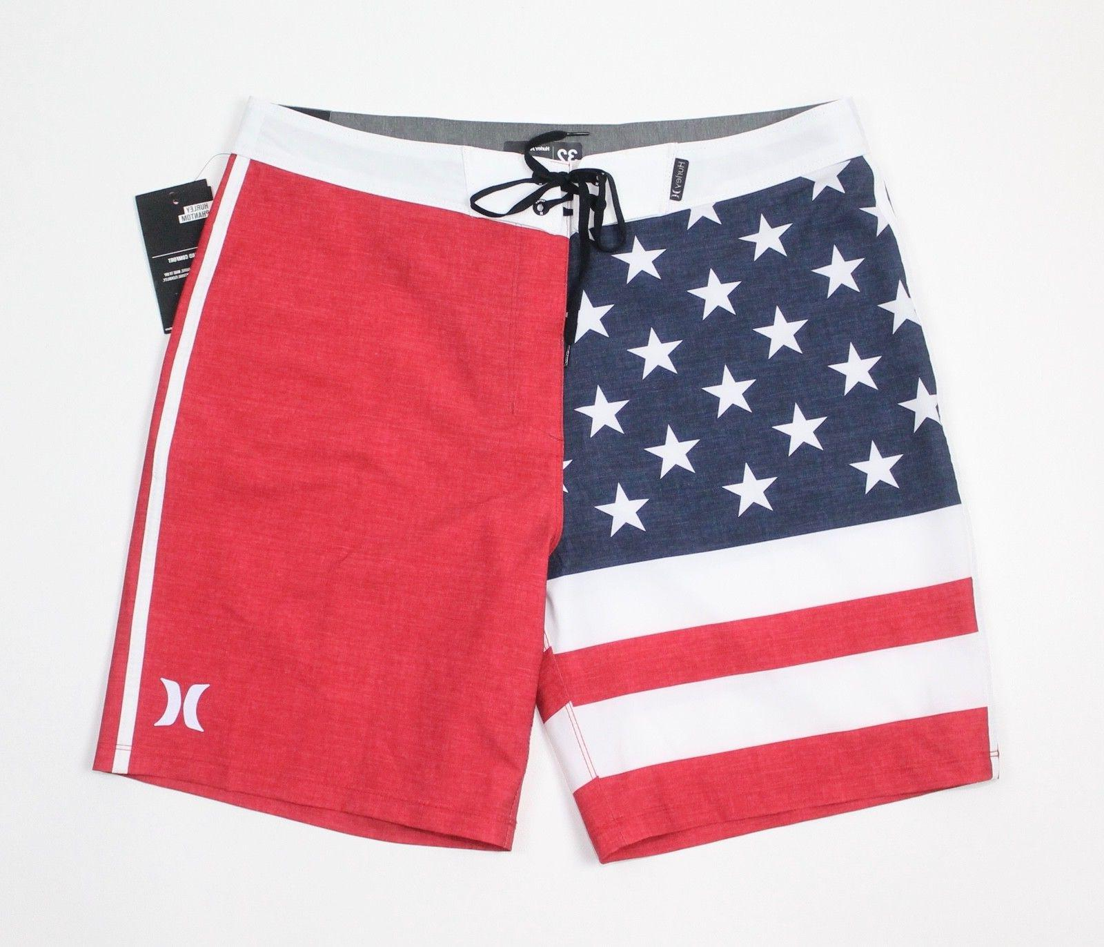 Hurley Phantom Boardshorts Flag Swim Trunks Size New