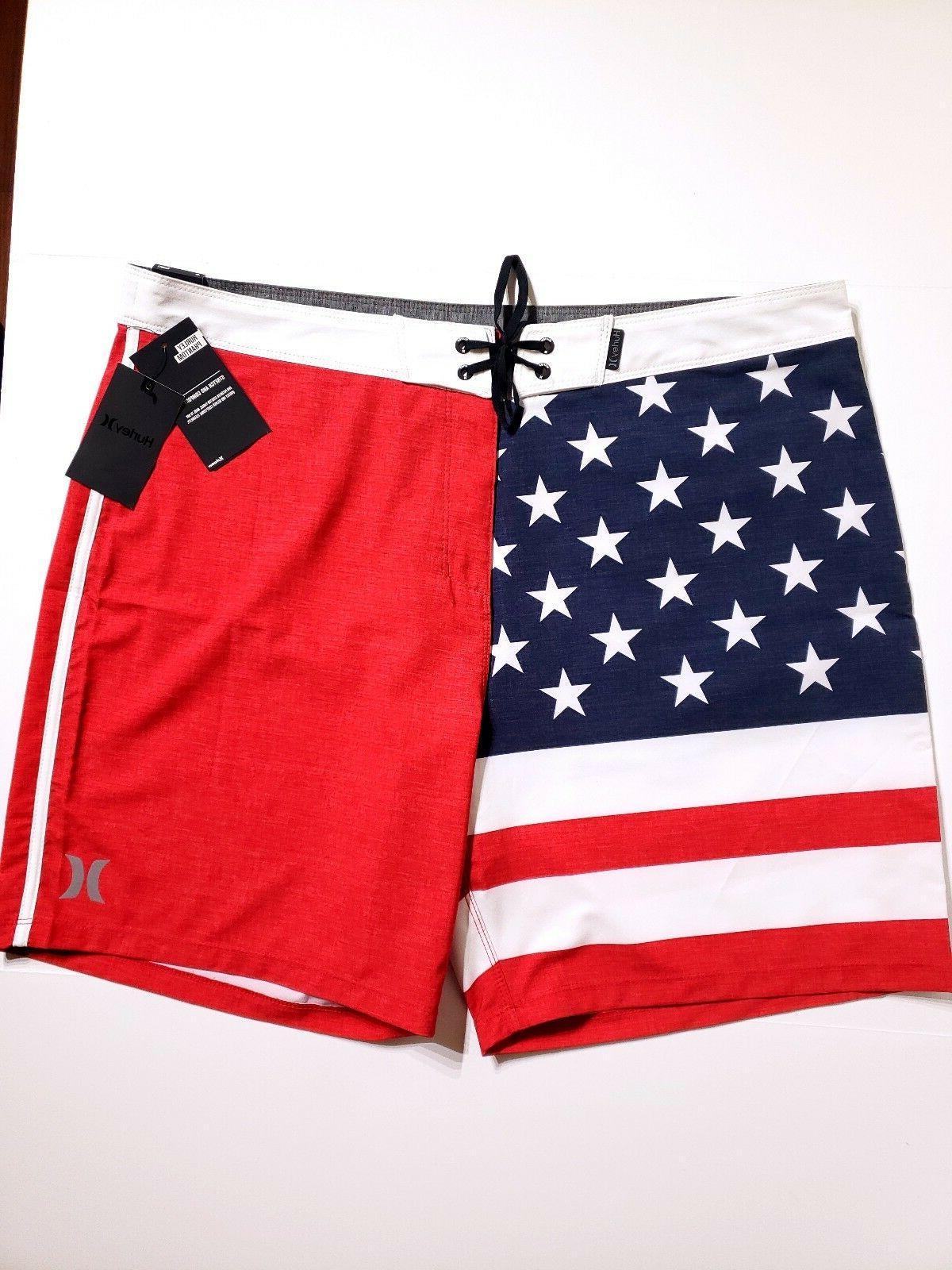 "Hurley Phantom Cheers 18"" Boardshorts USA Flag Beach Swim Tr"