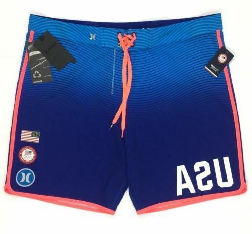 Hurley Phantom US Olympic Team Board Shorts Swim Trunks Blue