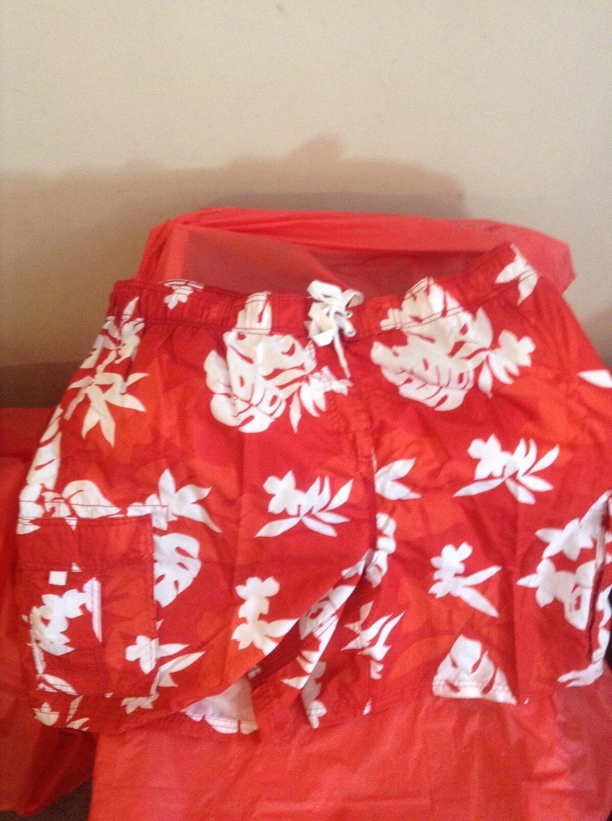 KANU SURF Board Shorts - Red Hawaiian Print - Quick Dry - Me