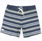 Modern Amusement Mens Stripe Stretch Trunks Boardshorts Navy