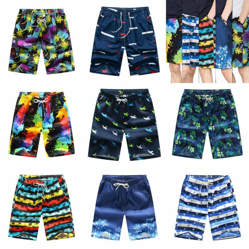 Nonwe Men's Qick Dry Boardshorts Colorful Stripe Casual Shor