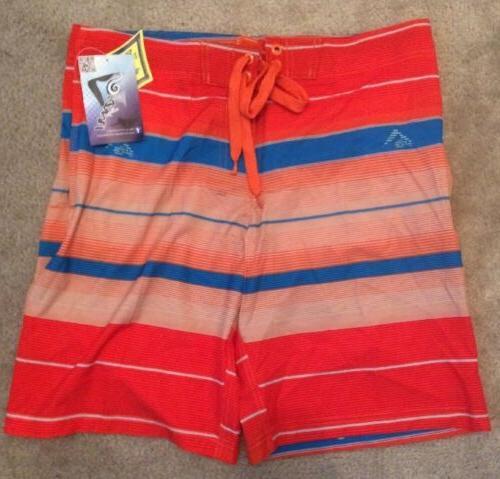 NEW Kanu Surf Mens Specter Stripe Board Shorts Orange 38 Boa