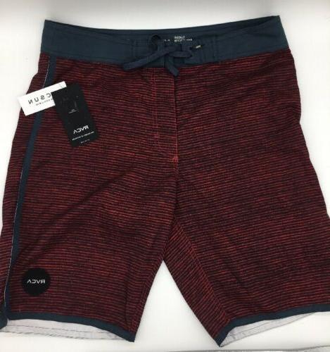 RCVA Va Boardshorts Size 31 Brand Mee Red Stripe Blue