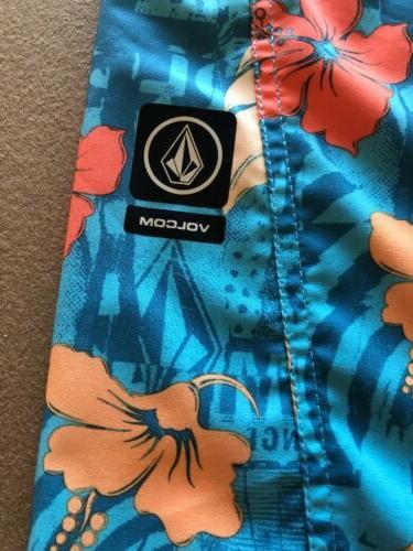 Volcom Blue And Tropical Fentler BoardShorts Swim Trunks New $50