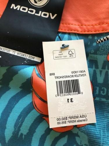 Volcom Blue Tropical Swim Trunks Size 31 $50