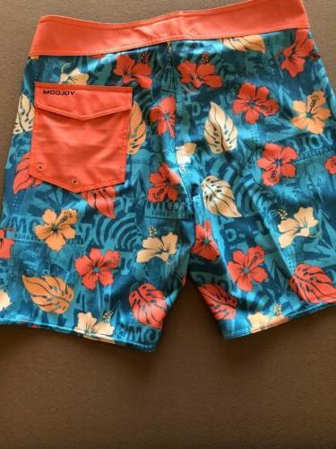 Volcom Blue Orange Tropical Trunks 31 $50