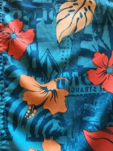 Volcom Blue Orange Tropical BoardShorts Swim Trunks New Size $50