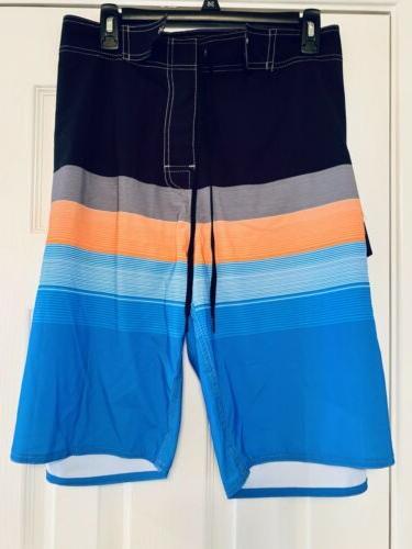 Nonwe Board Shorts Trunks Quick 42 Black Blue Orange