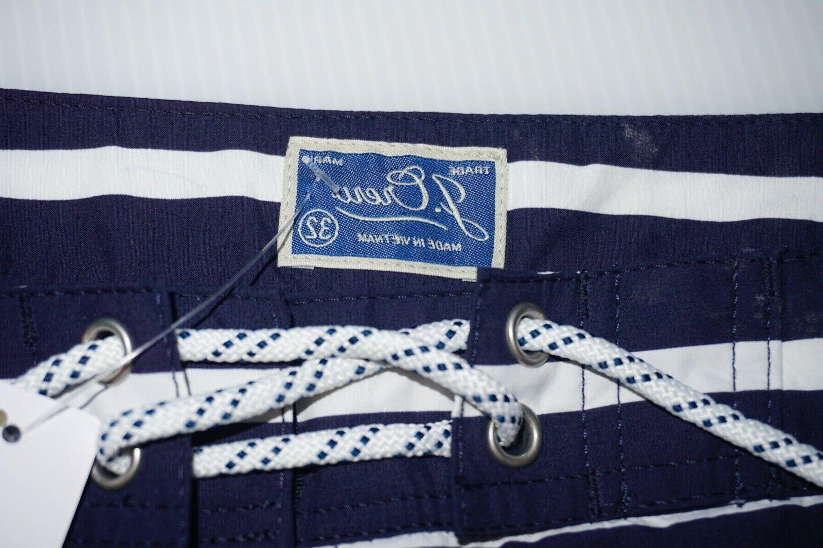 "Classic Men's 9"" Nautical Stripe Navy 32 $69.50"