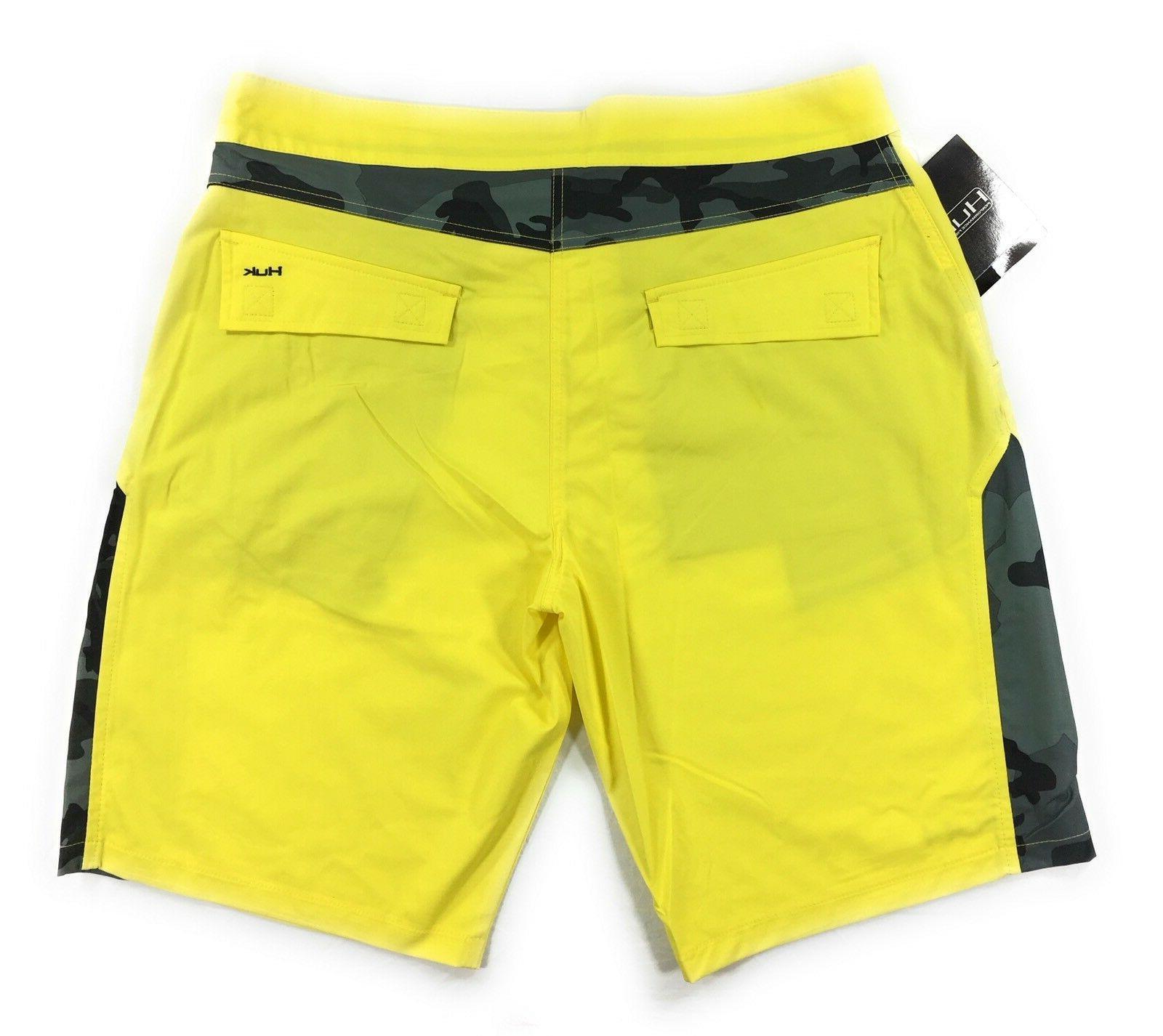 Huk Fishing Camo Boardshorts Mens Yellow Quick Dry
