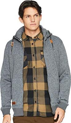 Quiksilver Men's Keller Zip UP Hoodie Jacket, Dark Grey Heat