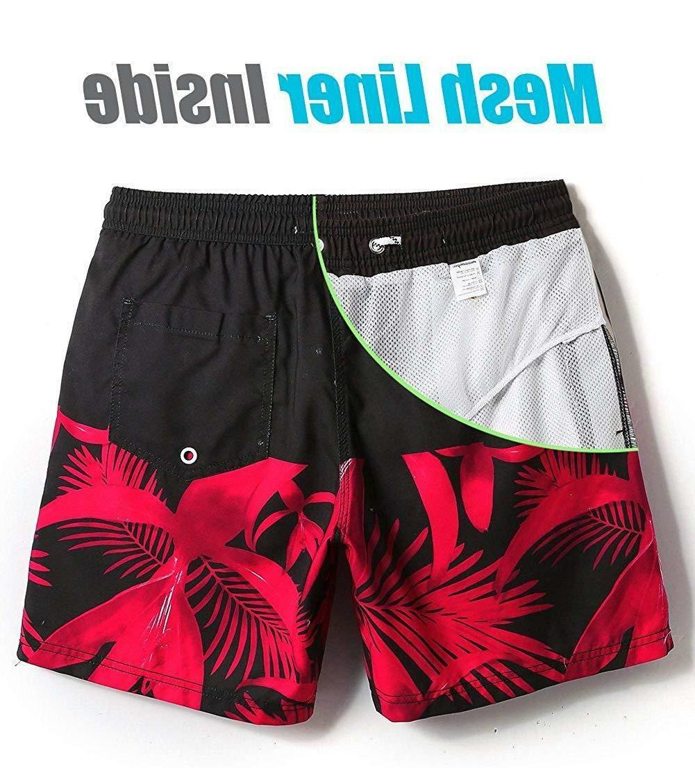 MaaMgic Quick Printed Short Swim Trunks with Mesh Swimwear