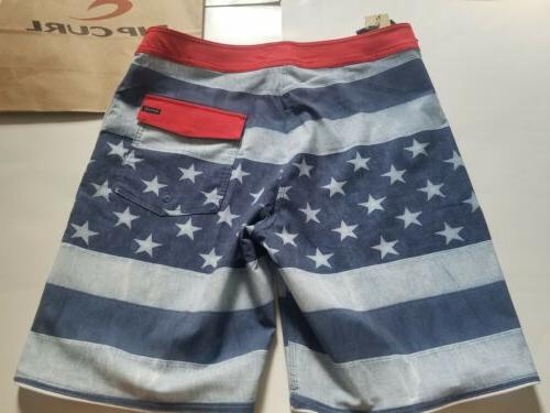 Men's Curl American Flag Swim Trunks, Size Hurley