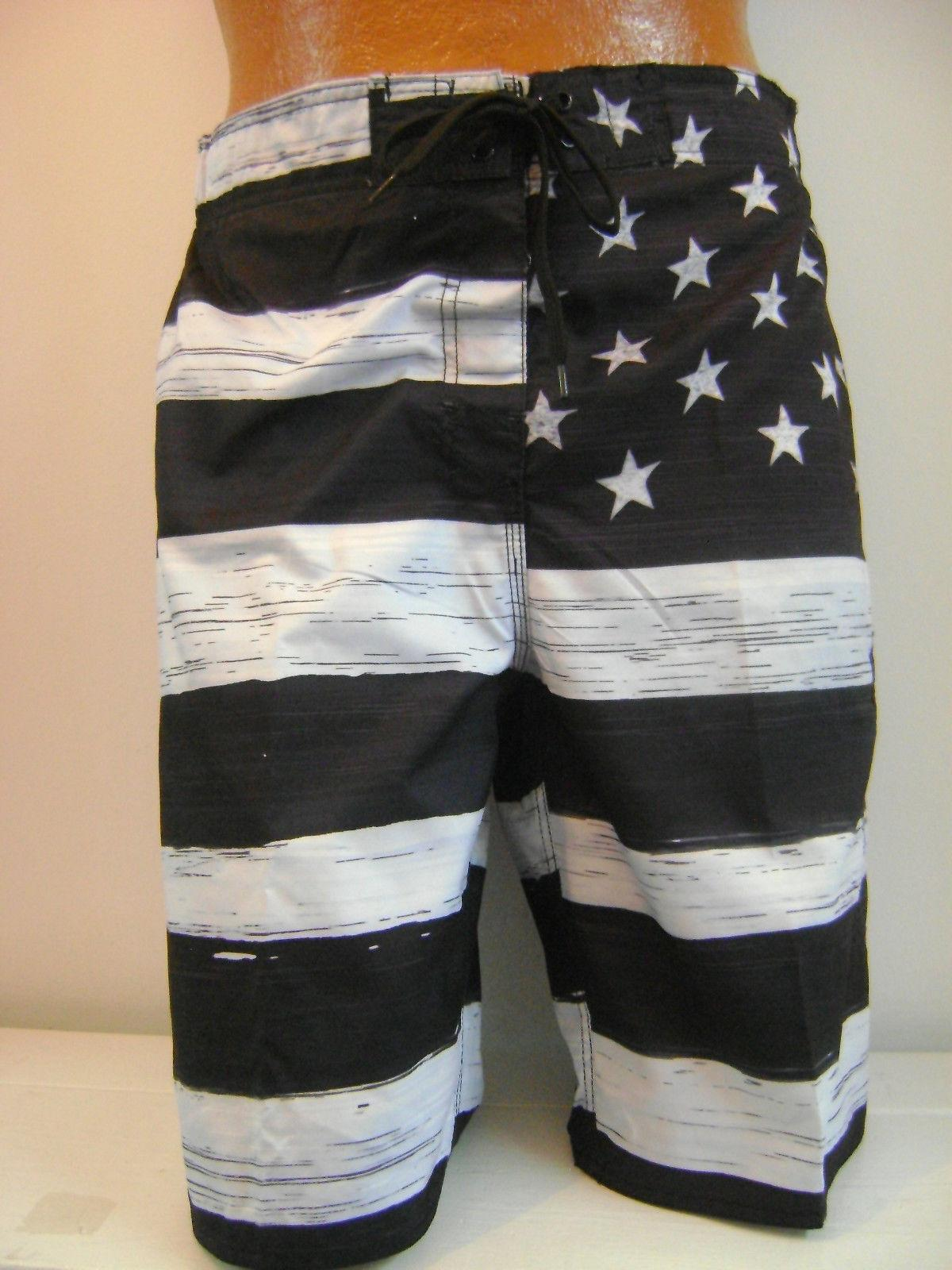 MEN'S American FLAG  SWIM TRUNK BOARD SHORTS Black & White O